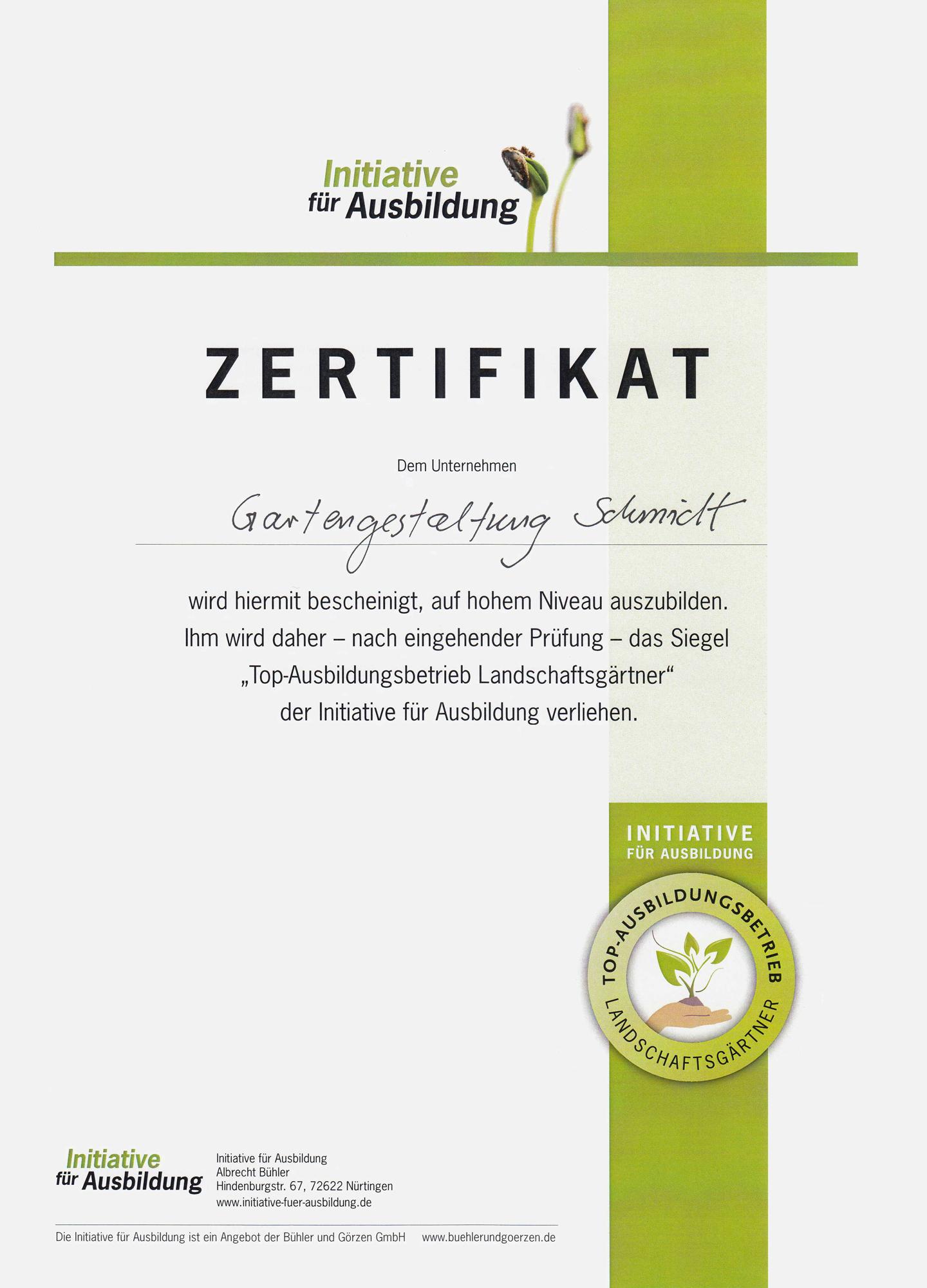 Zertifikat Top-Ausbildungsbetrieb Landschaftsgärtner